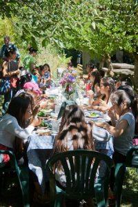 Students enjoying lunch.