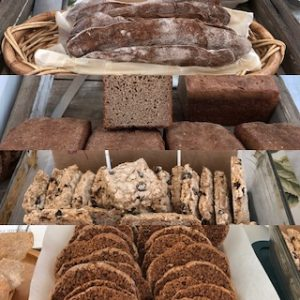 Baked goods made with local grains. Barley wine crackers, rye loaf, Berkshire biscuit, and rye rusks.