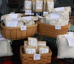 Shelf of packaged grains.