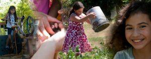 girl emptying bucket