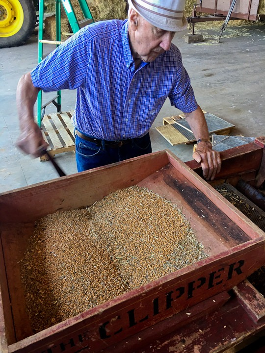 Sorting the grain with the Chipper.